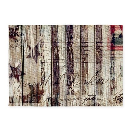 Barn Wood Rustic Americana 5 X7 Area Rug