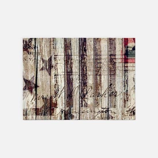 barn wood rustic Americana 5'x7'Area Rug