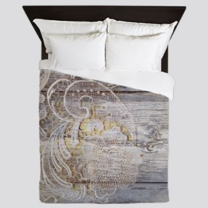 barn wood lace western country Queen Duvet