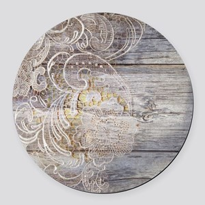 barn wood lace western country Round Car Magnet
