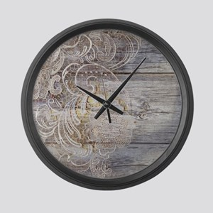 barn wood lace western country Large Wall Clock