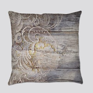 barn wood lace western country Everyday Pillow