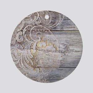 barn wood lace western country Round Ornament