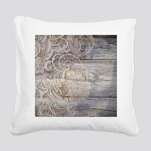 barn wood lace western countr Square Canvas Pillow