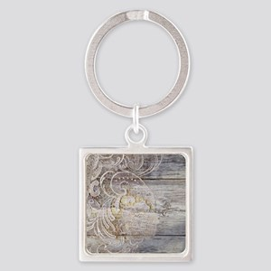 barn wood lace western country Square Keychain