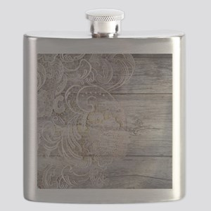 barn wood lace western country Flask