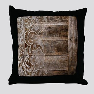 barn wood lace western country Throw Pillow