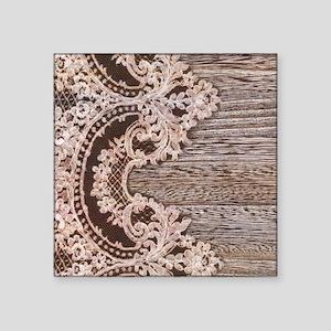 "barn wood lace western coun Square Sticker 3"" x 3"""