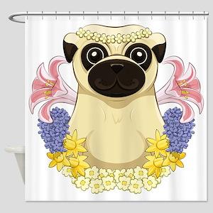 Spring Pug Shower Curtain