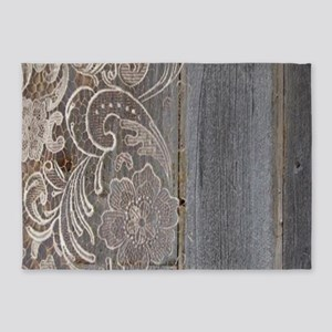 Rustic Country Barn Wood Lace 5x7Area Rug