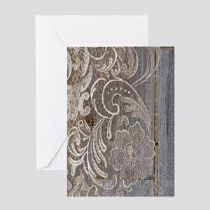 Rustic Country Barn Wood Lace Greeting Cards