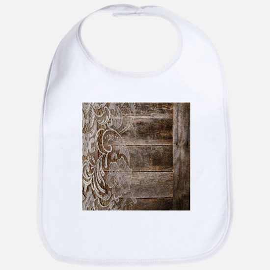 barn wood lace western country Bib
