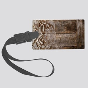 barn wood lace western country Large Luggage Tag