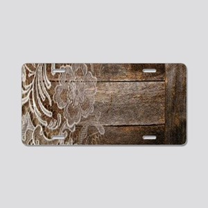 barn wood lace western coun Aluminum License Plate