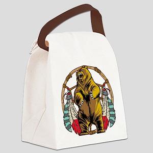 Bear Dream Catcher Canvas Lunch Bag