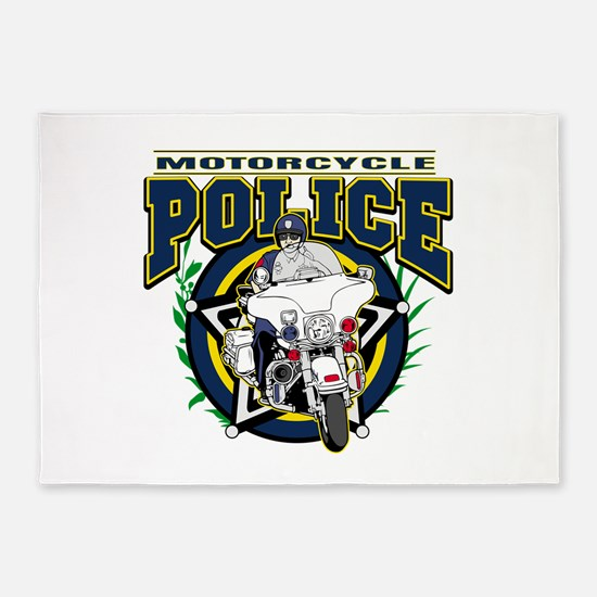 Motorcycle Police Officer 5'x7'Area Rug