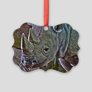 Black Rhino Picture Ornament