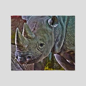 Black Rhino Throw Blanket