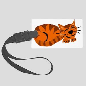 Funny Orange Tiger Cat Large Luggage Tag