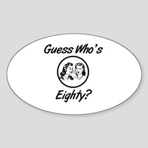 Retro 80th Birthday Sticker (Oval)