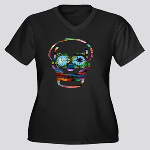Colorful Sku Women's Plus Size V-Neck Dark T-Shirt