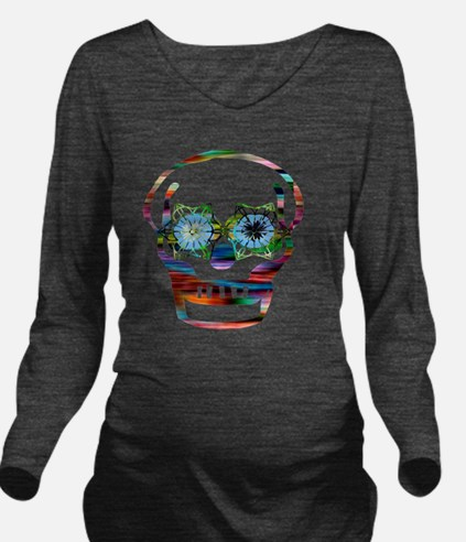 Colorful Skull Long Sleeve Maternity T-Shirt