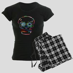 Colorful Skull Women's Dark Pajamas