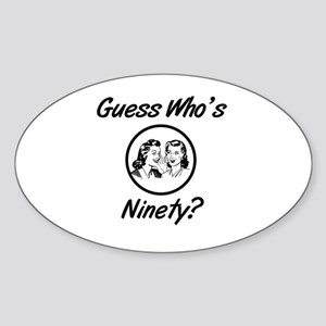 Retro 90th Birthday Sticker (Oval)