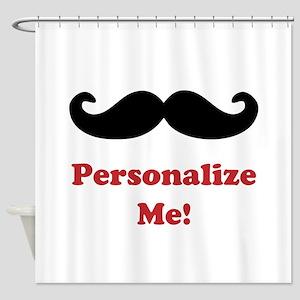 Customizable Mustache Shower Curtain
