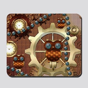 Steampunk , cute owl Mousepad