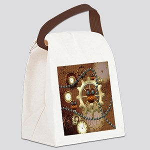 Steampunk , cute owl Canvas Lunch Bag