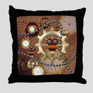 Steampunk , cute owl Throw Pillow
