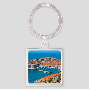 Croatia Harbor Square Keychain