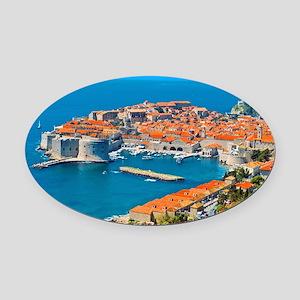 Croatia Harbor Oval Car Magnet