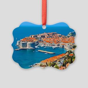 Croatia Harbor Picture Ornament