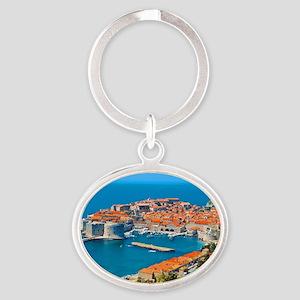 Croatia Harbor Oval Keychain