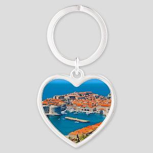 Croatia Harbor Heart Keychain