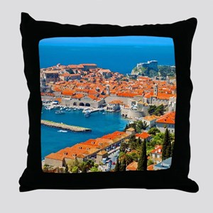 Croatia Harbor  Throw Pillow