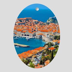 Croatia Harbor Oval Ornament