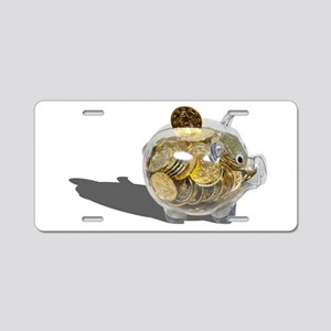 PiggyBankGoldCoins102410.pn Aluminum License Plate