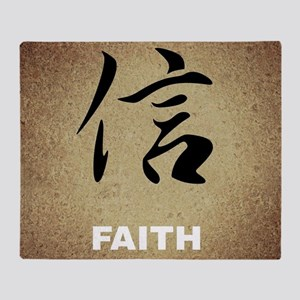 Faith in Chinese Characters Throw Blanket