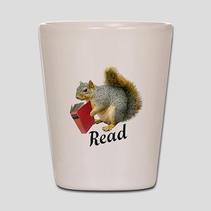 Squirrel Book Read Shot Glass