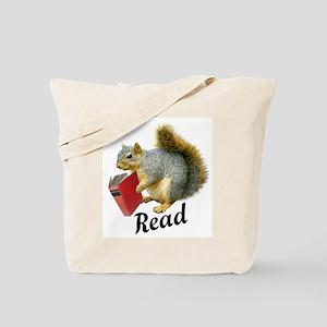 Squirrel Book Read Tote Bag
