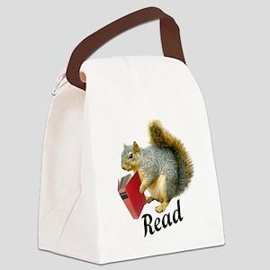 Squirrel Book Read Canvas Lunch Bag