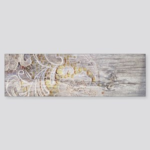 barn wood lace western country Bumper Sticker