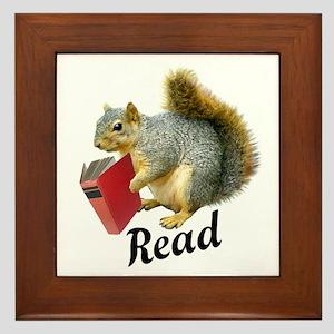 Squirrel Book Read Framed Tile
