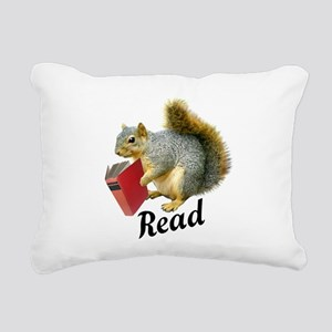 Squirrel Book Read Rectangular Canvas Pillow