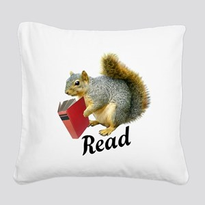 Squirrel Book Read Square Canvas Pillow