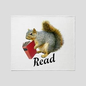 Squirrel Book Read Throw Blanket