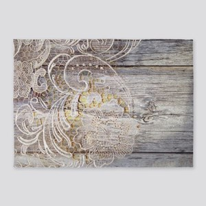 barn wood lace western country 5'x7'Area Rug